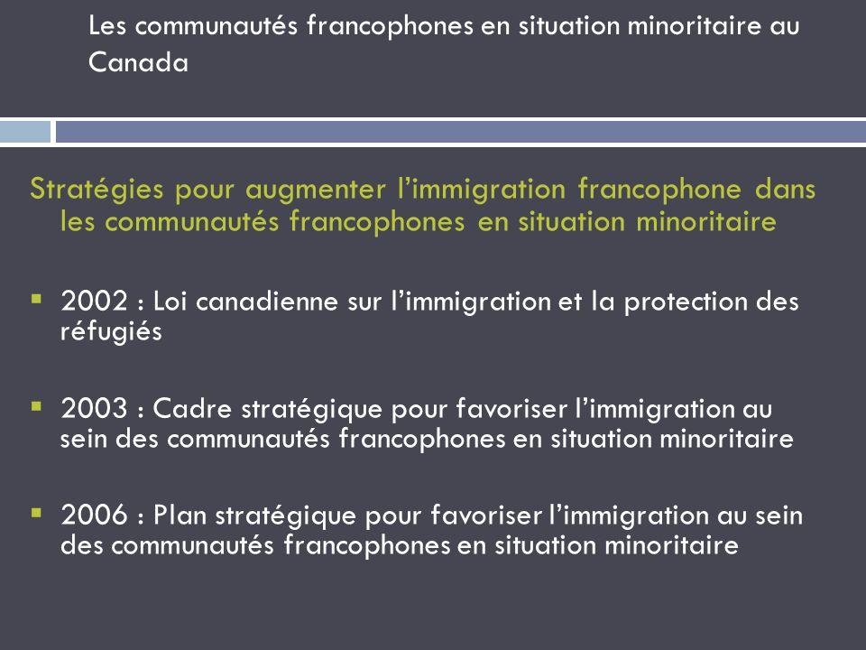 Les communautés francophones en situation minoritaire au Canada Stratégies pour augmenter limmigration francophone dans les communautés francophones e