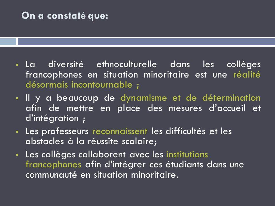 On a constaté que: La diversité ethnoculturelle dans les collèges francophones en situation minoritaire est une réalité désormais incontournable ; Il