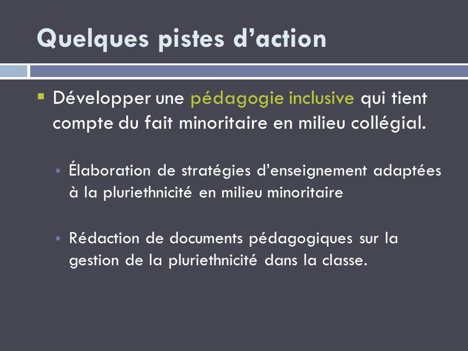 Quelques pistes daction Développer une pédagogie inclusive qui tient compte du fait minoritaire en milieu collégial. Élaboration de stratégies denseig