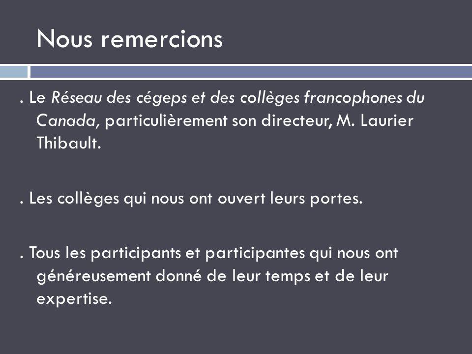 Nous remercions. Le Réseau des cégeps et des collèges francophones du Canada, particulièrement son directeur, M. Laurier Thibault.. Les collèges qui n
