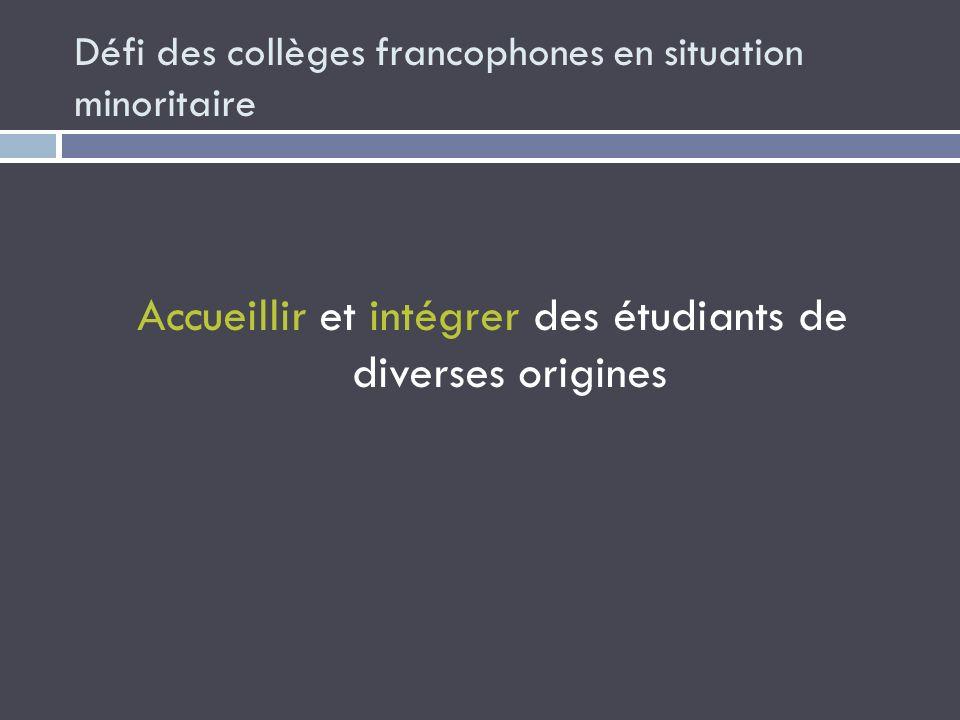 Défi des collèges francophones en situation minoritaire Accueillir et intégrer des étudiants de diverses origines