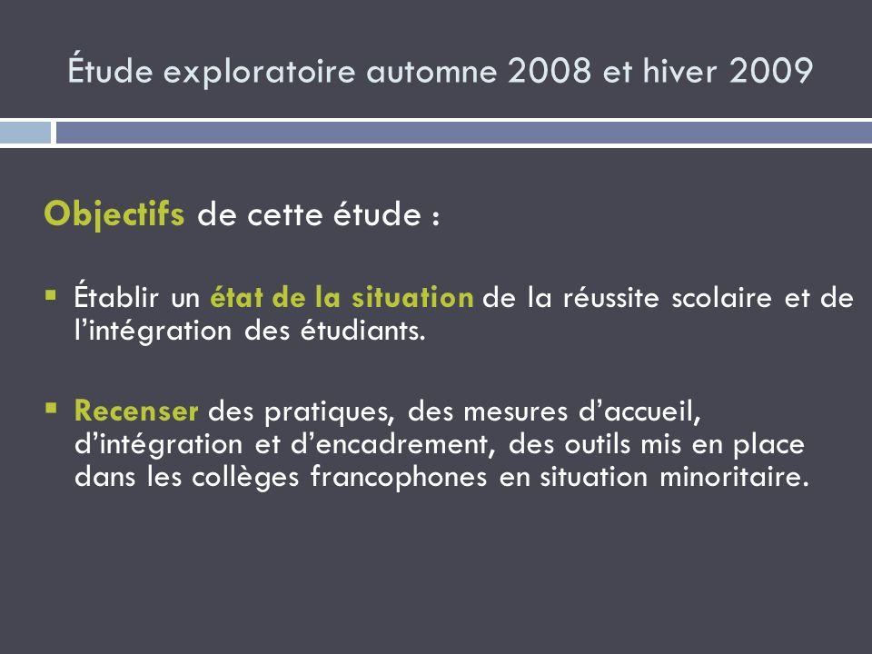 Étude exploratoire automne 2008 et hiver 2009 Objectifs de cette étude : Établir un état de la situation de la réussite scolaire et de lintégration de