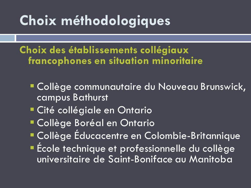Choix méthodologiques Choix des établissements collégiaux francophones en situation minoritaire Collège communautaire du Nouveau Brunswick, campus Bat
