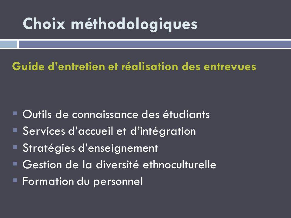 Choix méthodologiques Guide dentretien et réalisation des entrevues Outils de connaissance des étudiants Services daccueil et dintégration Stratégies