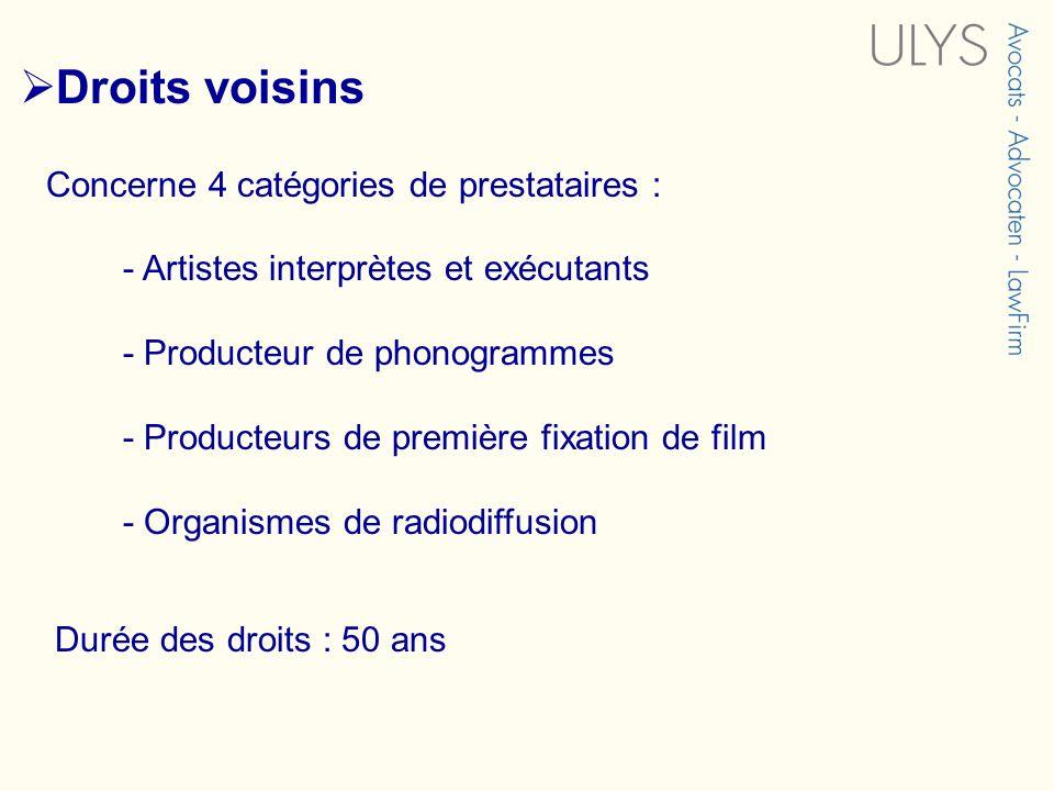 Concerne 4 catégories de prestataires : - Artistes interprètes et exécutants - Producteur de phonogrammes - Producteurs de première fixation de film -