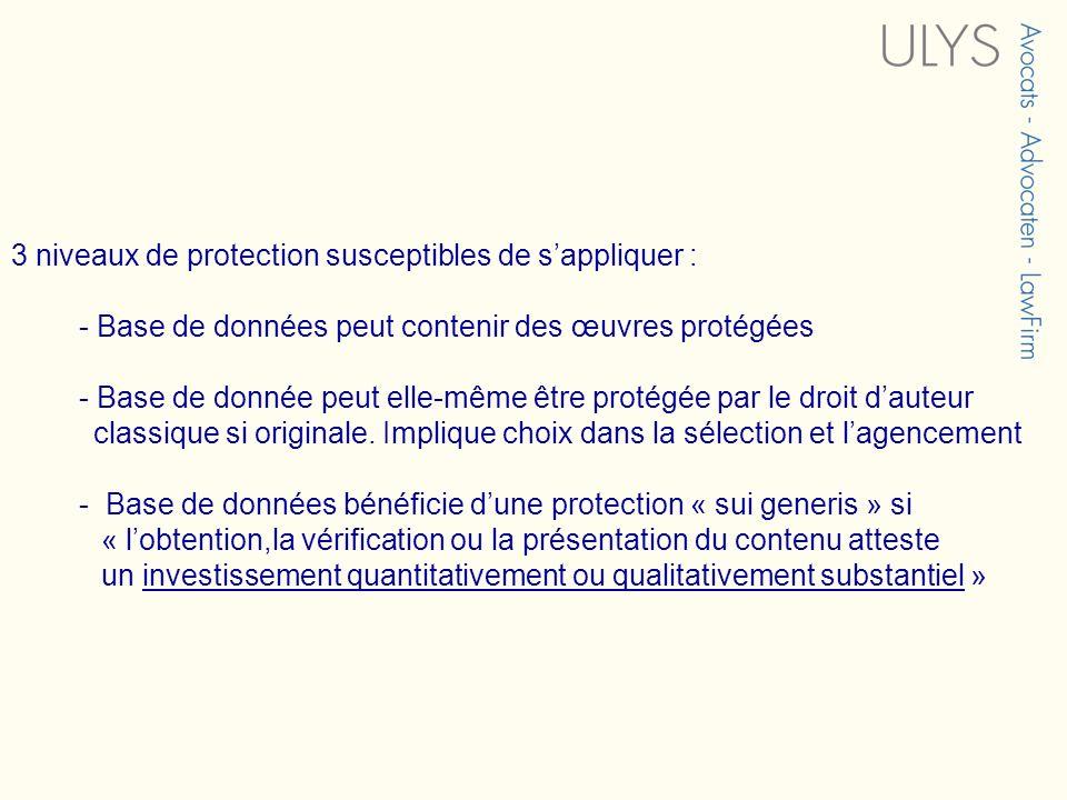 3 niveaux de protection susceptibles de sappliquer : - Base de données peut contenir des œuvres protégées - Base de donnée peut elle-même être protégé