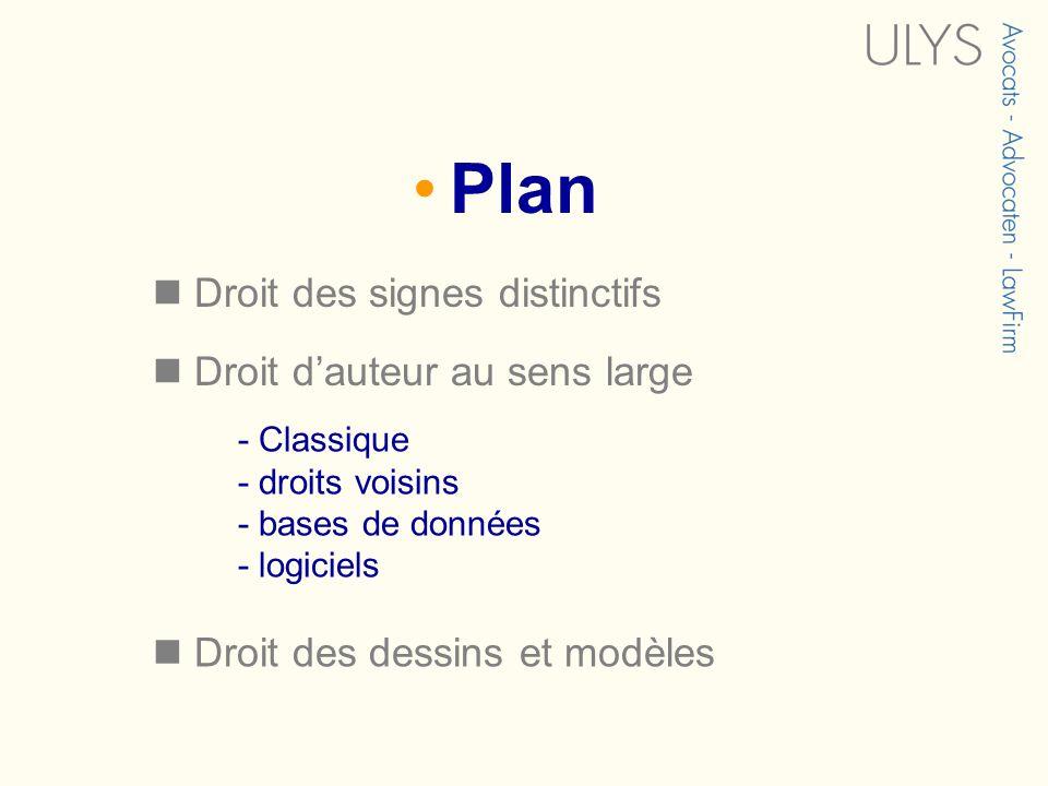 Plan Droit des signes distinctifs Droit dauteur au sens large - Classique - droits voisins - bases de données - logiciels Droit des dessins et modèles