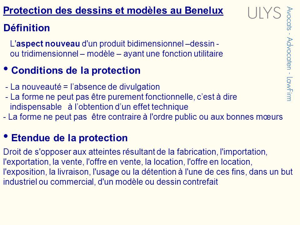 Protection des dessins et modèles au Benelux L'aspect nouveau d'un produit bidimensionnel –dessin - ou tridimensionnel – modèle – ayant une fonction u