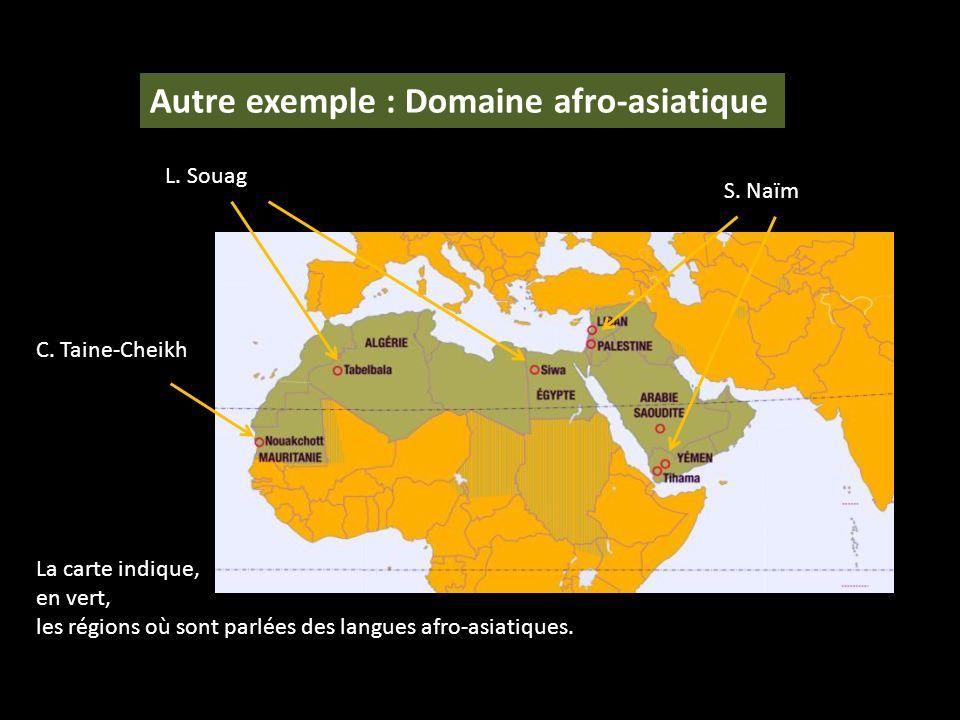 La carte indique, en vert, les régions où sont parlées des langues afro-asiatiques. S. Naïm L. Souag C. Taine-Cheikh Autre exemple : Domaine afro-asia