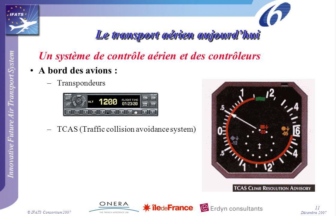 Innovative Future Air Transport System © IFATS Consortium 2007 11 Décembre 2007 Le transport aérien aujourdhui Un système de contrôle aérien et des co
