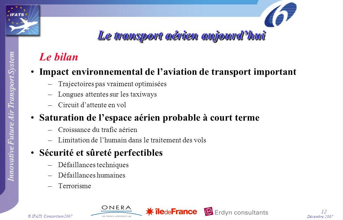 Innovative Future Air Transport System © IFATS Consortium 2007 12 Décembre 2007 Le transport aérien aujourdhui Le bilan Impact environnemental de lavi