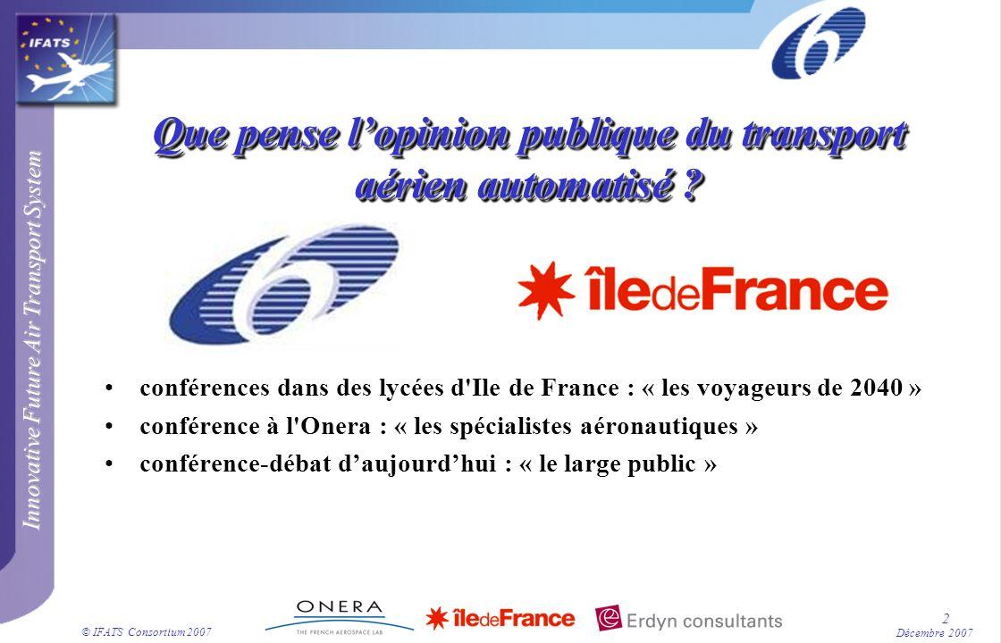 © IFATS Consortium 2007 2 Décembre 2007 Que pense lopinion publique du transport aérien automatisé ? conférences dans des lycées d'Ile de France : « l