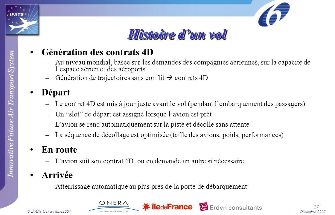 Innovative Future Air Transport System © IFATS Consortium 2007 27 Décembre 2007 Histoire dun vol Génération des contrats 4D –Au niveau mondial, basée