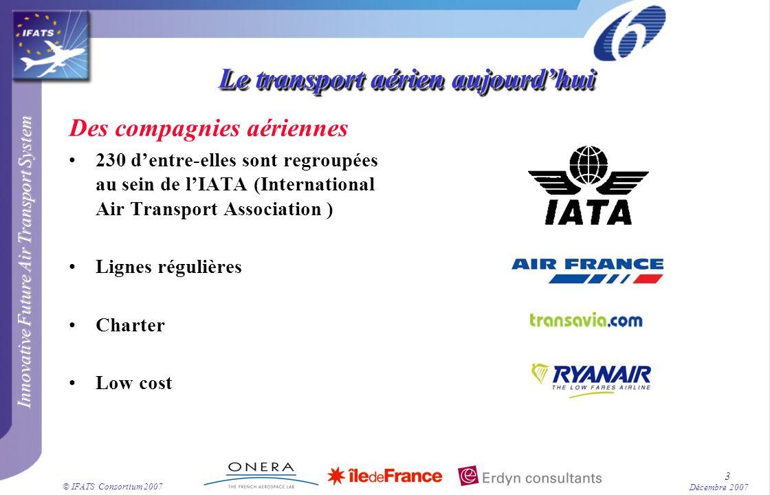 Innovative Future Air Transport System © IFATS Consortium 2007 4 Décembre 2007 Le transport aérien aujourdhui Des avions Court courrier : CRJ et ATR Moyen courrier : A320 Long courrier : B777, A380