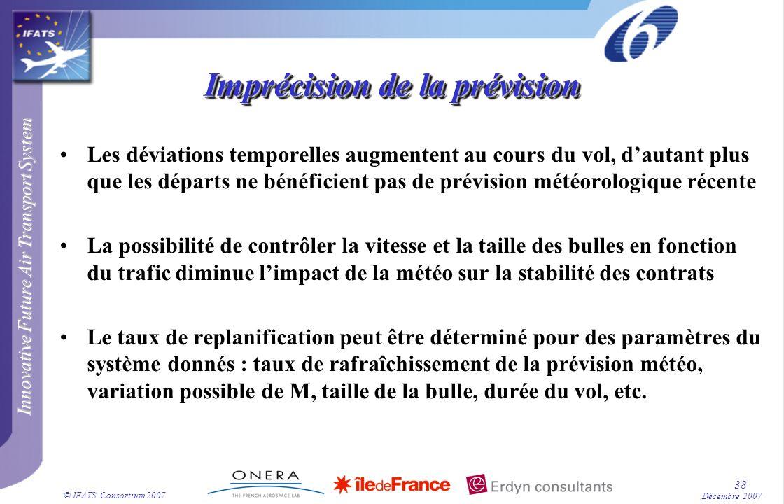 Innovative Future Air Transport System © IFATS Consortium 2007 38 Décembre 2007 Imprécision de la prévision Les déviations temporelles augmentent au c
