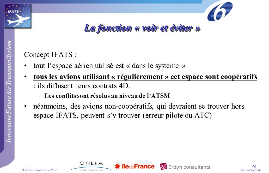Innovative Future Air Transport System © IFATS Consortium 2007 46 Décembre 2007 La fonction « voir et éviter » Concept IFATS : tout lespace aérien uti
