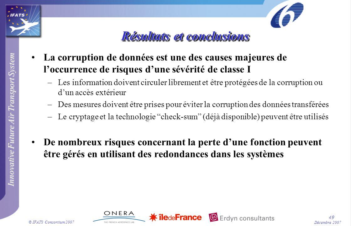 Innovative Future Air Transport System © IFATS Consortium 2007 49 Décembre 2007 Résultats et conclusions La corruption de données est une des causes m