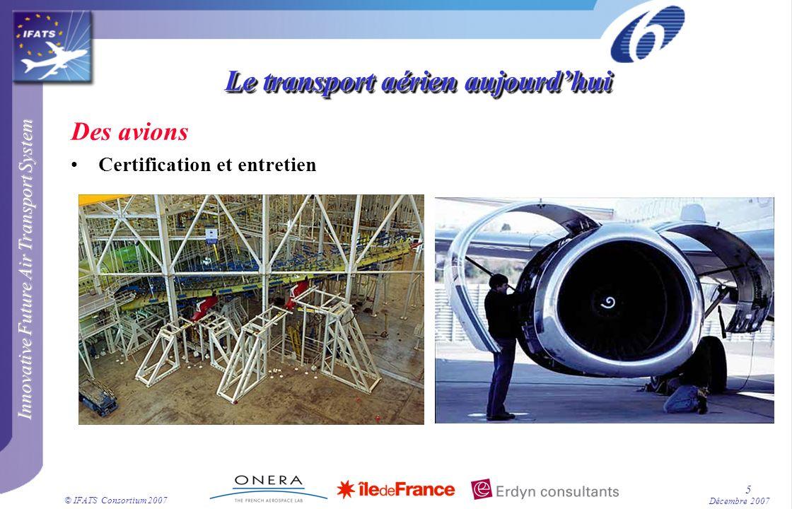 Innovative Future Air Transport System © IFATS Consortium 2007 46 Décembre 2007 La fonction « voir et éviter » Concept IFATS : tout lespace aérien utilisé est « dans le système » tous les avions utilisant « régulièrement » cet espace sont coopératifs : ils diffusent leurs contrats 4D.