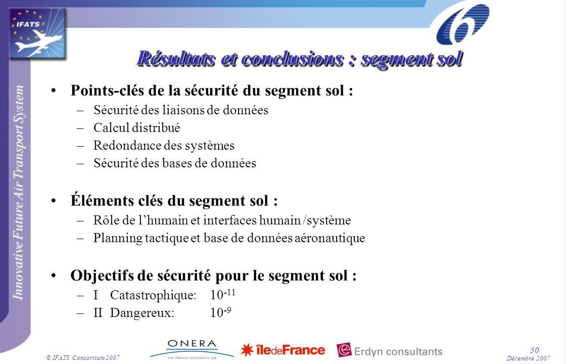 Innovative Future Air Transport System © IFATS Consortium 2007 50 Décembre 2007 Résultats et conclusions : segment sol Points-clés de la sécurité du s