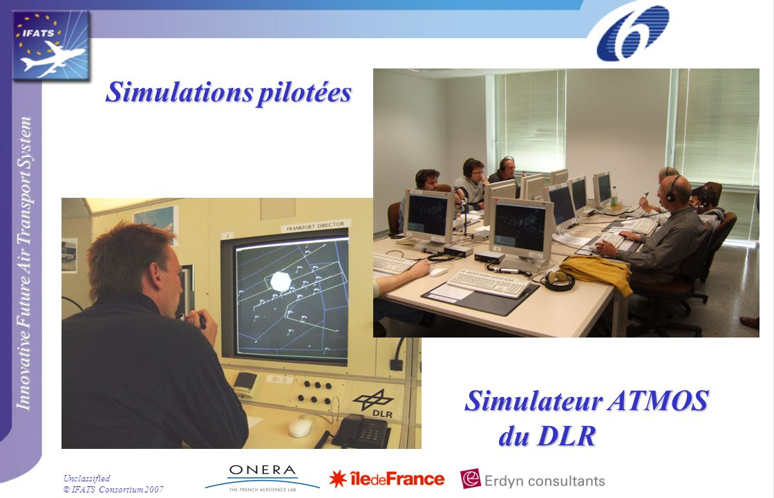 Innovative Future Air Transport System © IFATS Consortium 2007 Unclassified Simulations pilotées Simulateur ATMOS du DLR
