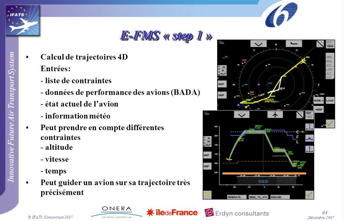 Innovative Future Air Transport System © IFATS Consortium 2007 64 Décembre 2007 Calcul de trajectoires 4D Entrées: - liste de contraintes - données de