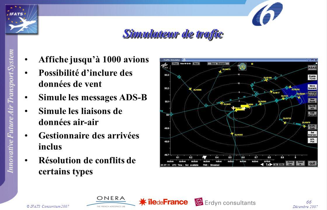 Innovative Future Air Transport System © IFATS Consortium 2007 66 Décembre 2007 Affiche jusquà 1000 avions Possibilité dinclure des données de vent Si