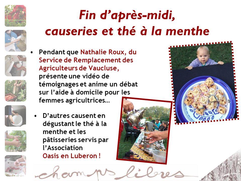 Fin daprès-midi, causeries et thé à la menthe Pendant que Nathalie Roux, du Service de Remplacement des Agriculteurs de Vaucluse, présente une vidéo d