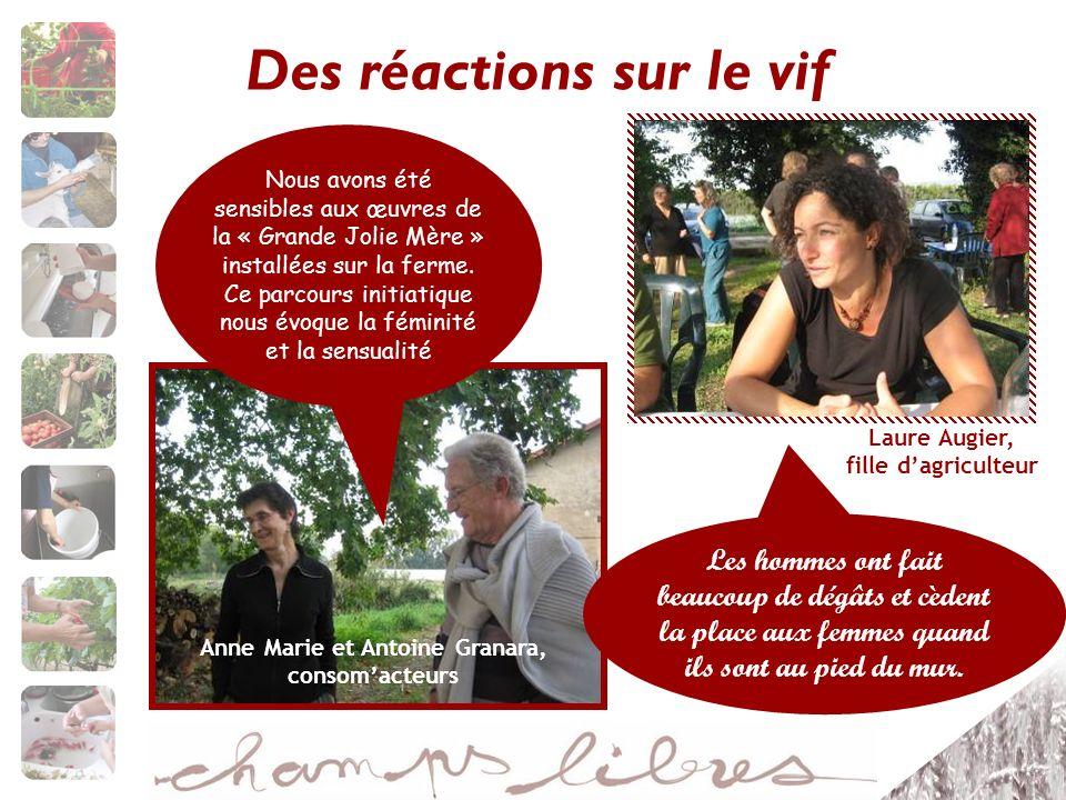 Des réactions sur le vif Anne Marie et Antoine Granara, consomacteurs Nous avons été sensibles aux œuvres de la « Grande Jolie Mère » installées sur la ferme.