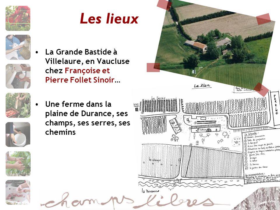 Les lieux La Grande Bastide à Villelaure, en Vaucluse chez Françoise et Pierre Follet Sinoir… Une ferme dans la plaine de Durance, ses champs, ses serres, ses chemins