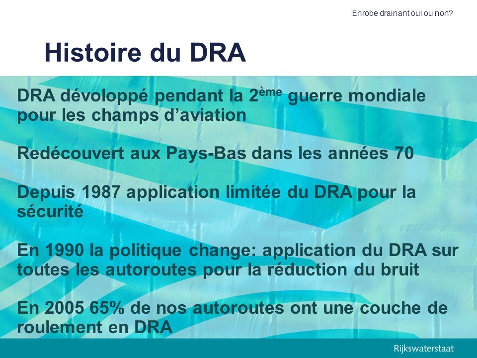 Enrobe drainant oui ou non? Histoire du DRA DRA dévoloppé pendant la 2 ème guerre mondiale pour les champs daviation Redécouvert aux Pays-Bas dans les