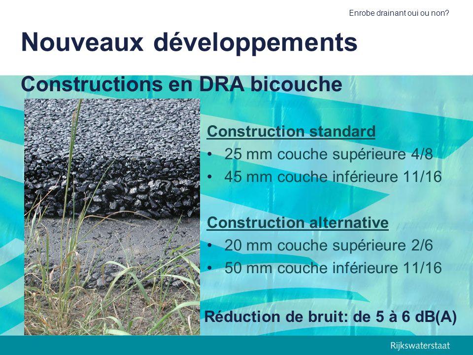 Enrobe drainant oui ou non? Constructions en DRA bicouche Construction standard 25 mm couche supérieure 4/8 45 mm couche inférieure 11/16 Construction