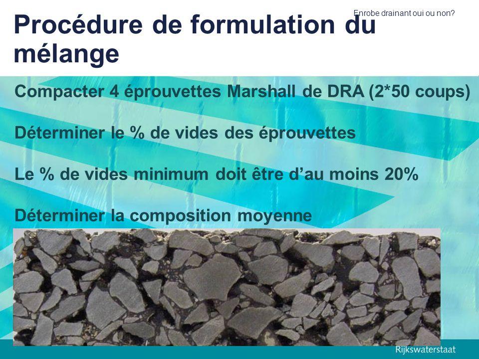 Enrobe drainant oui ou non? Procédure de formulation du mélange Compacter 4 éprouvettes Marshall de DRA (2*50 coups) Déterminer le % de vides des épro