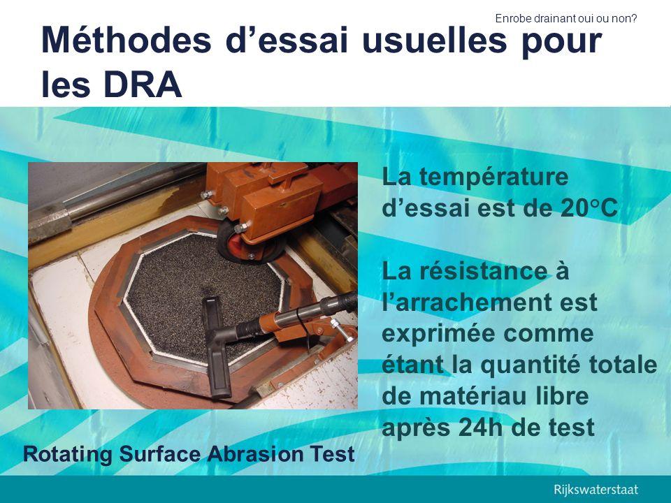 Enrobe drainant oui ou non? Méthodes dessai usuelles pour les DRA Rotating Surface Abrasion Test La température dessai est de 20°C La résistance à lar