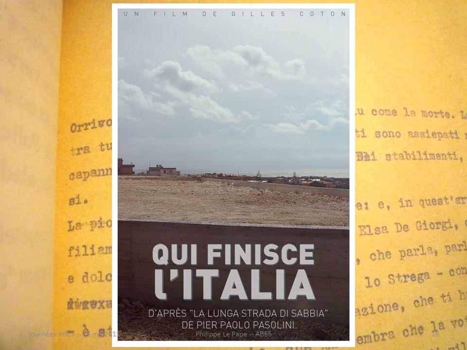 http://catalogue.bnf.fr/ark:/12148/cb400460342/ http://www.sudoc.fr/093562934/id http://www.idref.fr/027059456/id http://fr.wikipedia.org/wiki/Pier_Paolo_Pasolini Identique à A pour auteur Journées ABES -- 18 mai201118Philippe Le Pape -- ABES