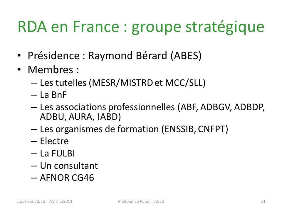 RDA en France : groupe stratégique Présidence : Raymond Bérard (ABES) Membres : – Les tutelles (MESR/MISTRD et MCC/SLL) – La BnF – Les associations professionnelles (ABF, ADBGV, ADBDP, ADBU, AURA, IABD) – Les organismes de formation (ENSSIB, CNFPT) – Electre – La FULBI – Un consultant – AFNOR CG46 Journées ABES -- 18 mai201124Philippe Le Pape -- ABES