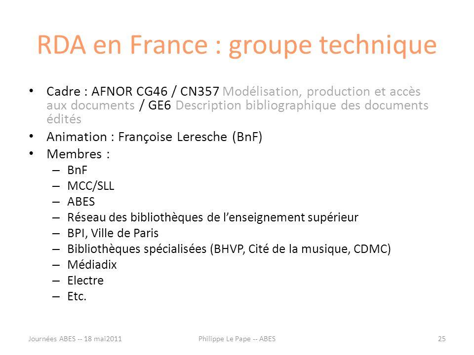 RDA en France : groupe technique Cadre : AFNOR CG46 / CN357 Modélisation, production et accès aux documents / GE6 Description bibliographique des docu