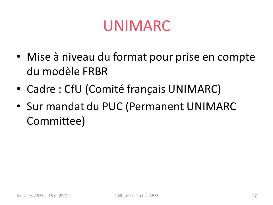 UNIMARC Mise à niveau du format pour prise en compte du modèle FRBR Cadre : CfU (Comité français UNIMARC) Sur mandat du PUC (Permanent UNIMARC Committee) Journées ABES -- 18 mai201127Philippe Le Pape -- ABES