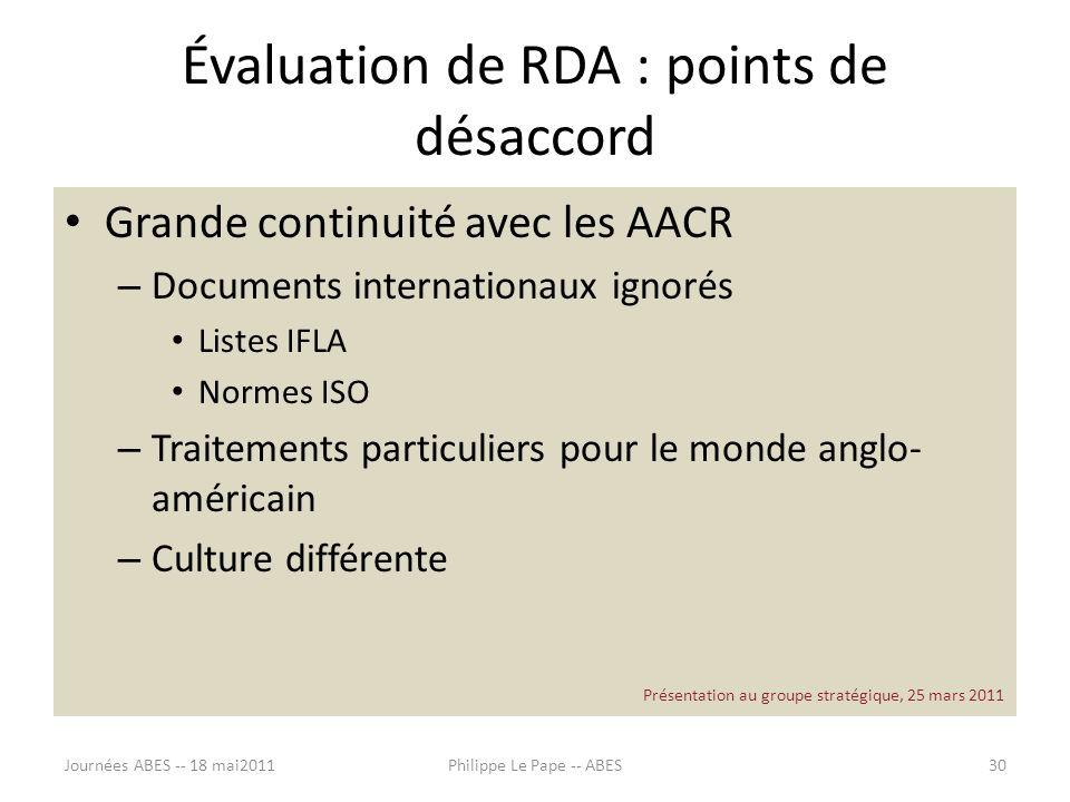 Évaluation de RDA : points de désaccord Grande continuité avec les AACR – Documents internationaux ignorés Listes IFLA Normes ISO – Traitements partic