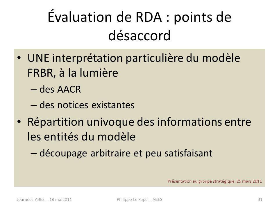 Évaluation de RDA : points de désaccord UNE interprétation particulière du modèle FRBR, à la lumière – des AACR – des notices existantes Répartition u
