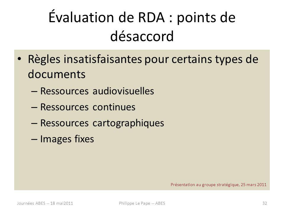 Évaluation de RDA : points de désaccord Règles insatisfaisantes pour certains types de documents – Ressources audiovisuelles – Ressources continues –