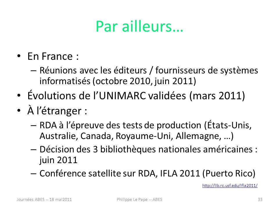 Par ailleurs… En France : – Réunions avec les éditeurs / fournisseurs de systèmes informatisés (octobre 2010, juin 2011) Évolutions de lUNIMARC validées (mars 2011) À létranger : – RDA à lépreuve des tests de production (États-Unis, Australie, Canada, Royaume-Uni, Allemagne, …) – Décision des 3 bibliothèques nationales américaines : juin 2011 – Conférence satellite sur RDA, IFLA 2011 (Puerto Rico) http://lib.rc.usf.edu/ifla2011/ Journées ABES -- 18 mai201133Philippe Le Pape -- ABES