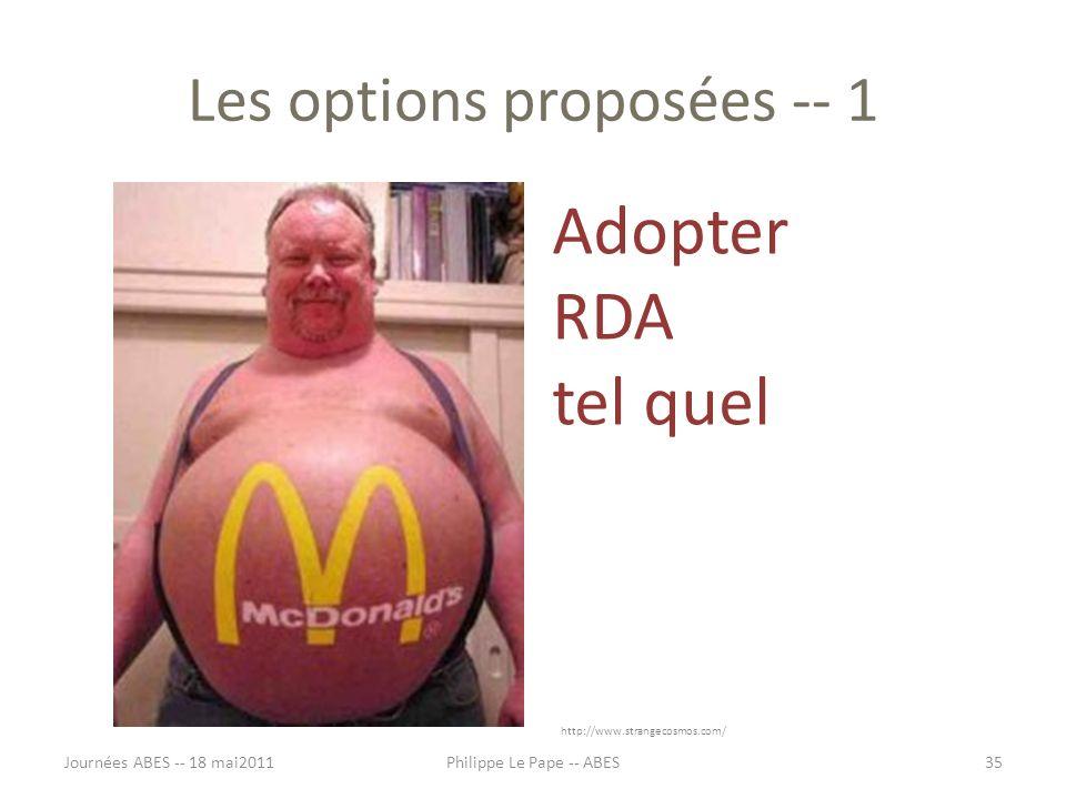 Les options proposées -- 1 Adopter RDA tel quel Journées ABES -- 18 mai201135Philippe Le Pape -- ABES http://www.strangecosmos.com/