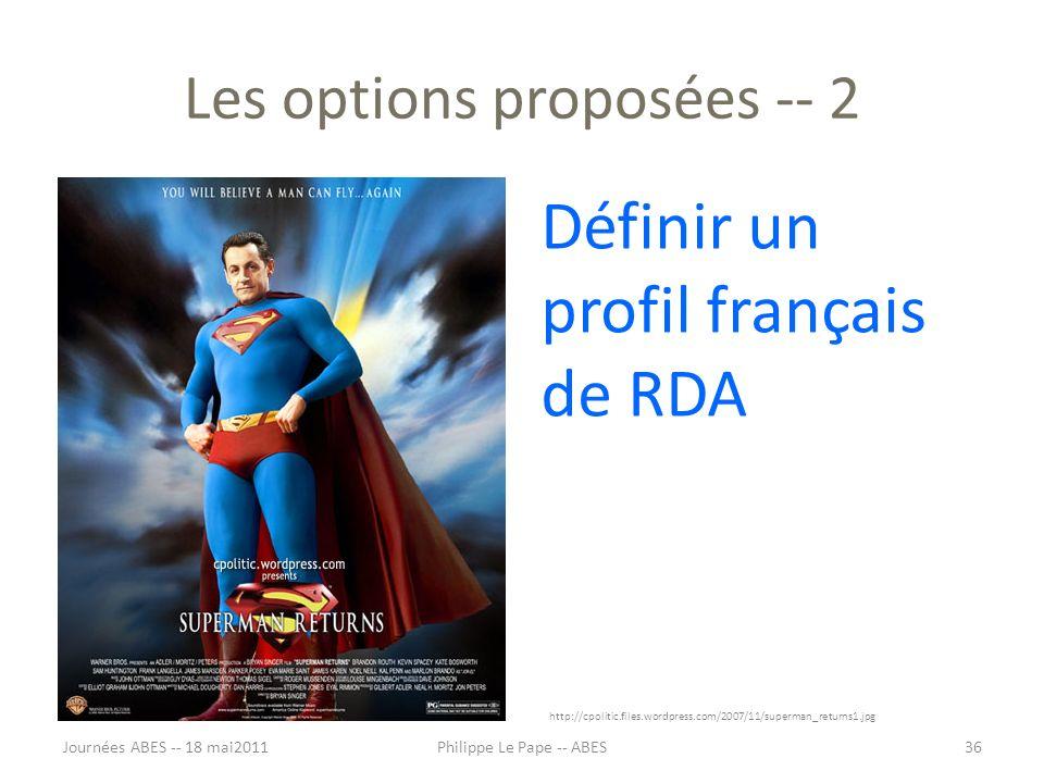 Les options proposées -- 2 Définir un profil français de RDA http://cpolitic.files.wordpress.com/2007/11/superman_returns1.jpg Journées ABES -- 18 mai201136Philippe Le Pape -- ABES