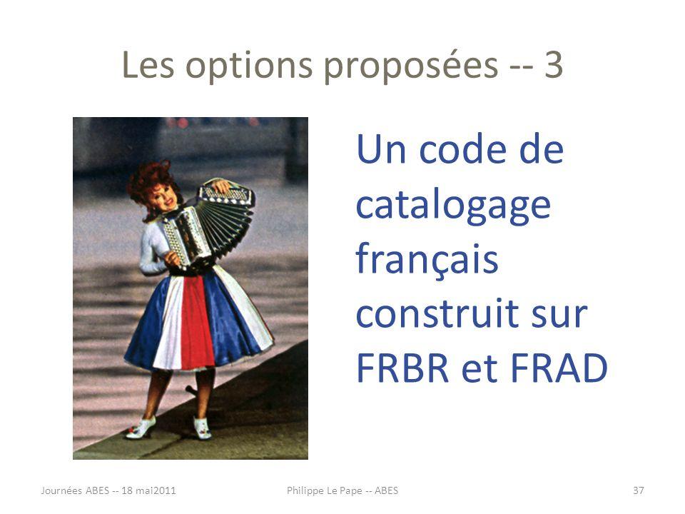 Les options proposées -- 3 Un code de catalogage français construit sur FRBR et FRAD Journées ABES -- 18 mai201137Philippe Le Pape -- ABES