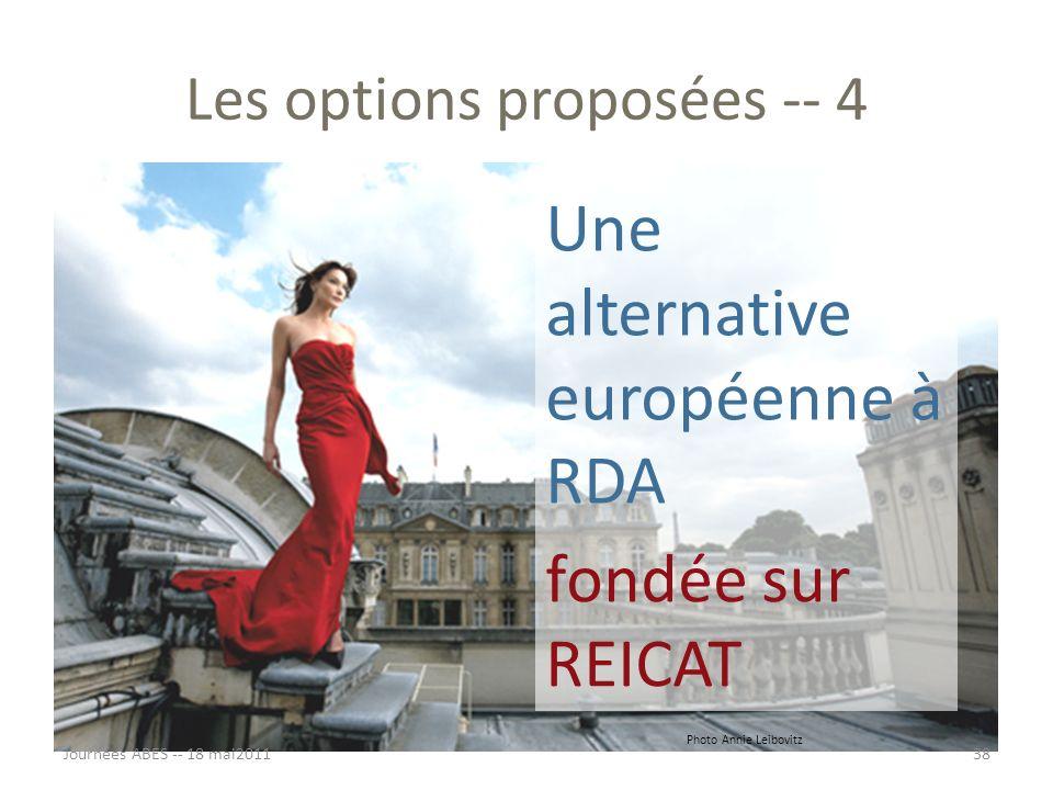 Les options proposées -- 4 Une alternative européenne à RDA fondée sur REICAT Journées ABES -- 18 mai201138 Photo Annie Leibovitz