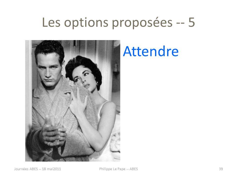 Les options proposées -- 5 Attendre Journées ABES -- 18 mai201139Philippe Le Pape -- ABES