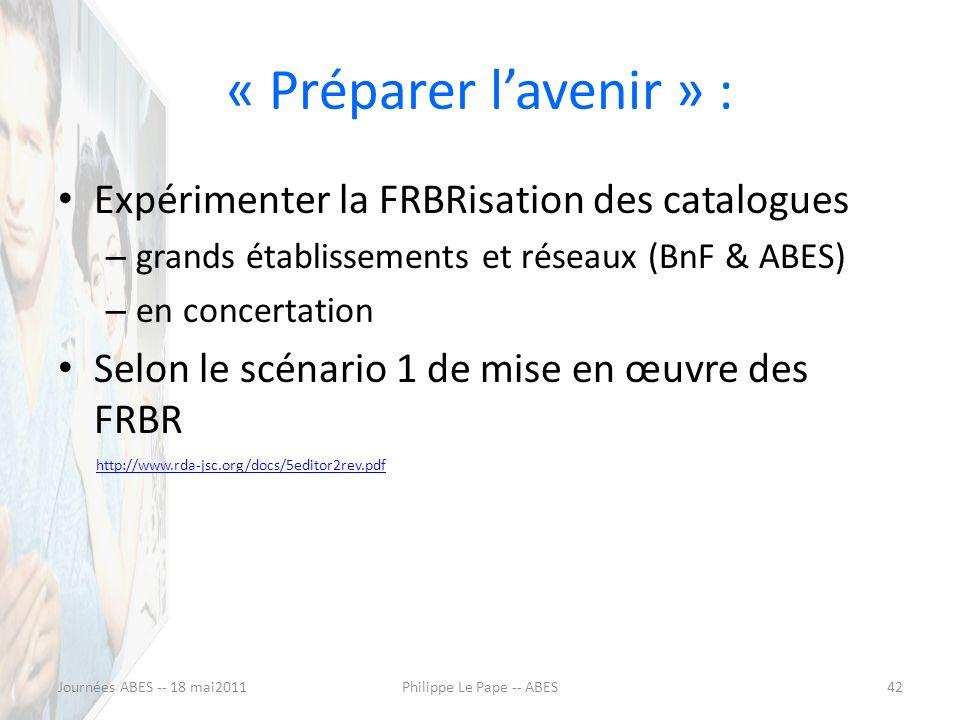 « Préparer lavenir » : Expérimenter la FRBRisation des catalogues – grands établissements et réseaux (BnF & ABES) – en concertation Selon le scénario 1 de mise en œuvre des FRBR http://www.rda-jsc.org/docs/5editor2rev.pdf Journées ABES -- 18 mai201142Philippe Le Pape -- ABES