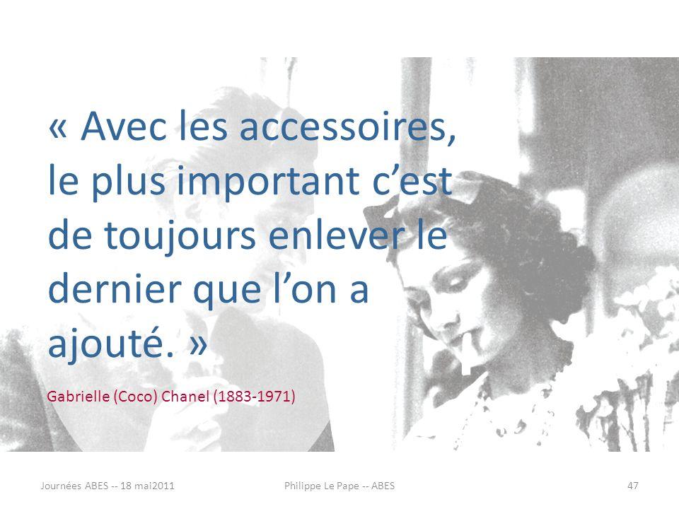 « Avec les accessoires, le plus important cest de toujours enlever le dernier que lon a ajouté. » Gabrielle (Coco) Chanel (1883-1971) Journées ABES --