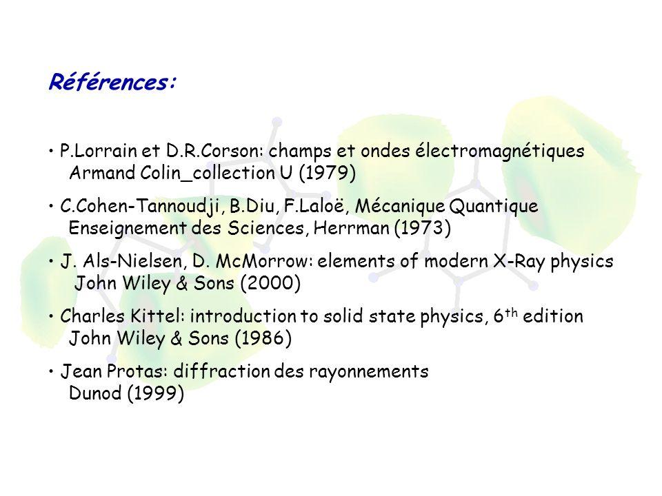 Références: P.Lorrain et D.R.Corson: champs et ondes électromagnétiques Armand Colin_collection U (1979) C.Cohen-Tannoudji, B.Diu, F.Laloë, Mécanique