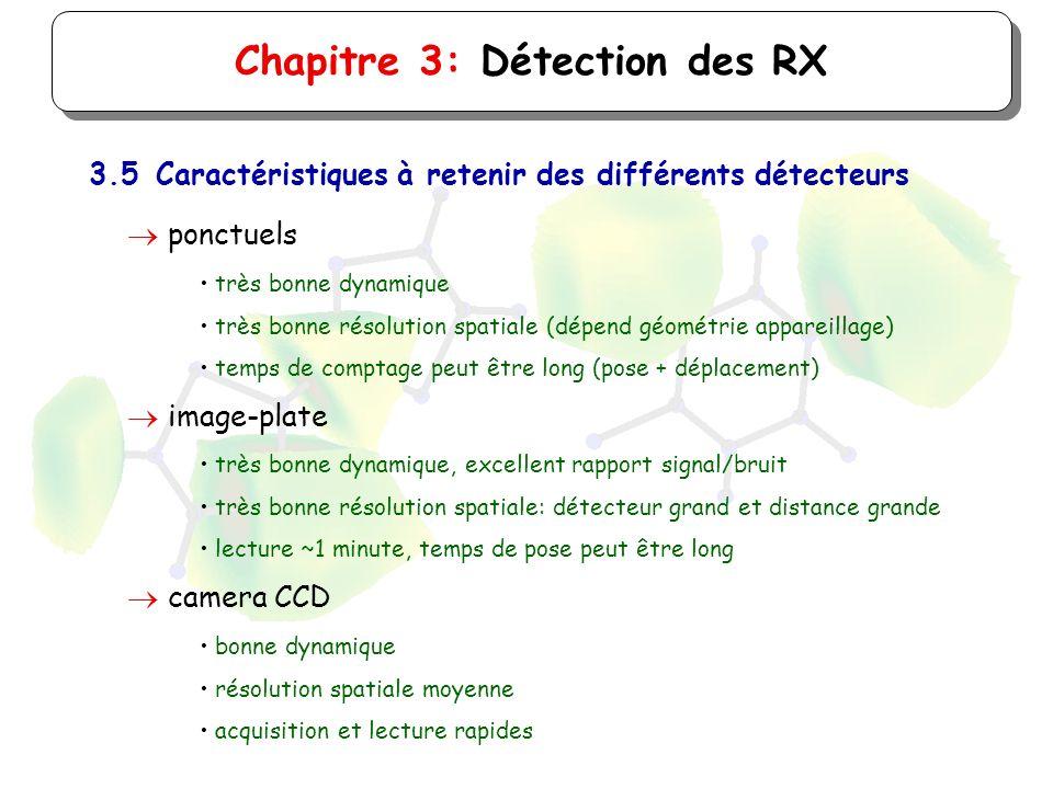 Chapitre 3: Détection des RX 3.5Caractéristiques à retenir des différents détecteurs ponctuels très bonne dynamique très bonne résolution spatiale (dé